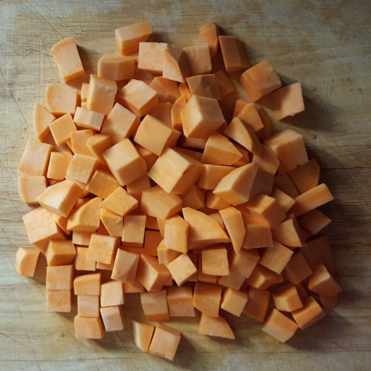 cubed sweet potato for baby food