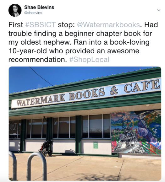 Watermark Books and Cafe on Small Business Saturday