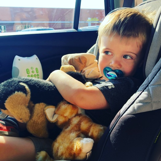 pack favorite comfort items when driving with a toddler